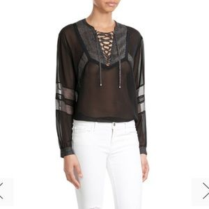 • The Kooples • Lace Up Sheer Blouse Black XS